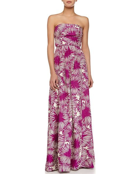 Maxi Dress Dalia Purple Belt Citra tracy reese strapless floral print pleated dress in