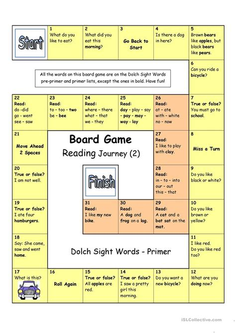 printable board games sight words board game reading journey 2 dolch sight words