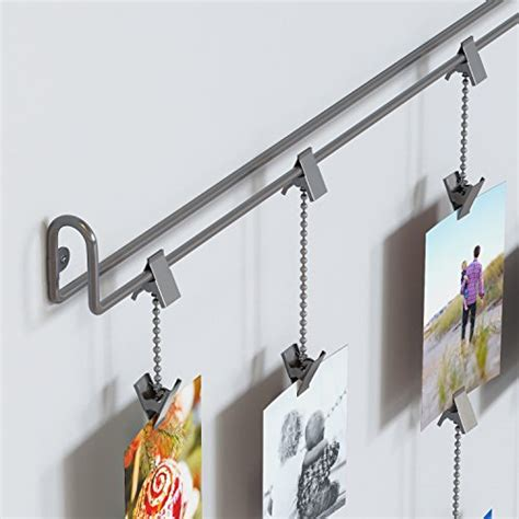 hanging photo organizer rail with chains and 32 clips gray hanging photo organizer rail with chains and 32 clips gray