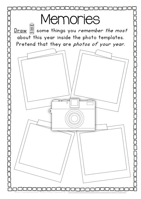 End Of The Year Memory Book And Activities Clever Classroom Blog Memory Book Templates