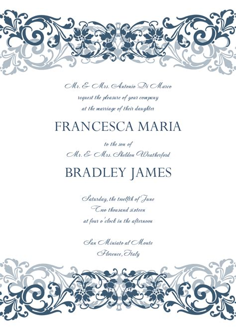 formal wedding invitation template sle loro ipunya