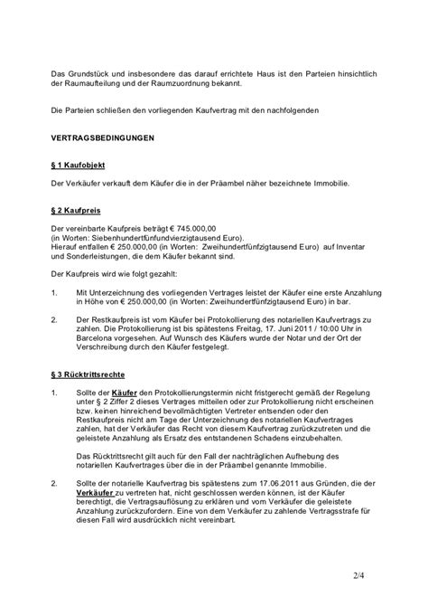 Notarieller Kaufvertrag Haus privater kaufvertrag