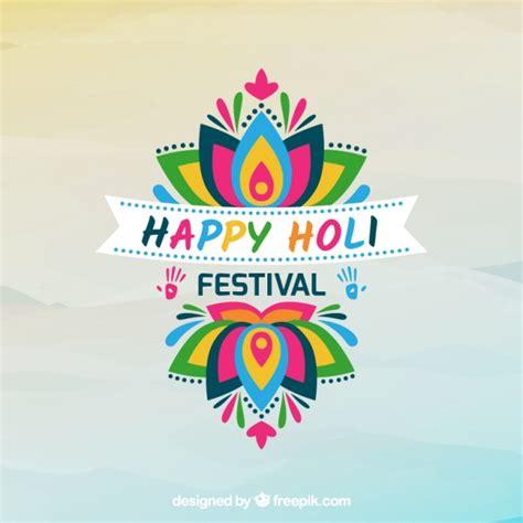 design love fest logo holi festival background with colorful flower vector