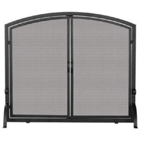 home depot woven mesh black fireplace screen with doors
