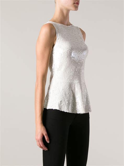 P A R O S H Top p a r o s h sequin sleeveless top in white lyst