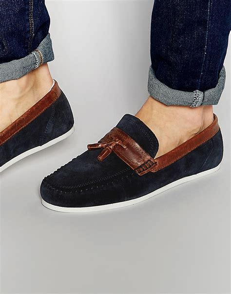 blue suede tassel loafer tassel loafer in blue suede in brown for lyst