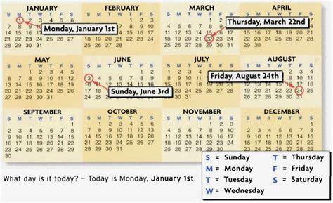 Calendario De Fechas Ingl 233 S Guapo Calendario D 237 As De La Semana Y Los Meses En