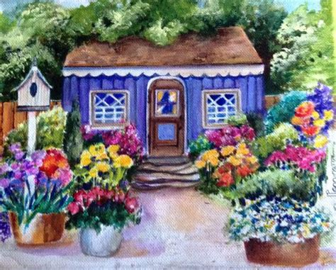 colorfu houses painting original english cottage and garden painting by