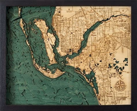 woodchart fort myers cape coral nautical topographic art