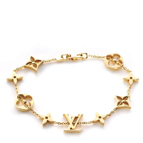 Louis Vuitton Monogram Costume Jewelry by Louis Vuitton Monogram Bracelet Yellow Gold 69565