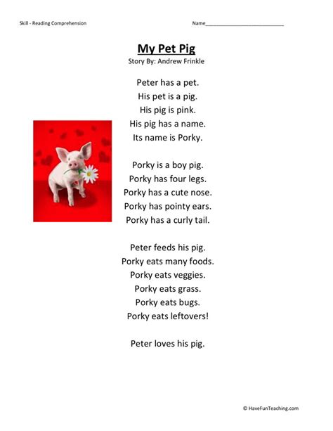 Kindergarten Reading Comprehension Worksheets by Reading Comprehension Worksheet My Pet Pig