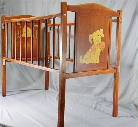 Wooden Baby Doll Cribs by Wooden Baby Doll Crib Vintage Made Puppy