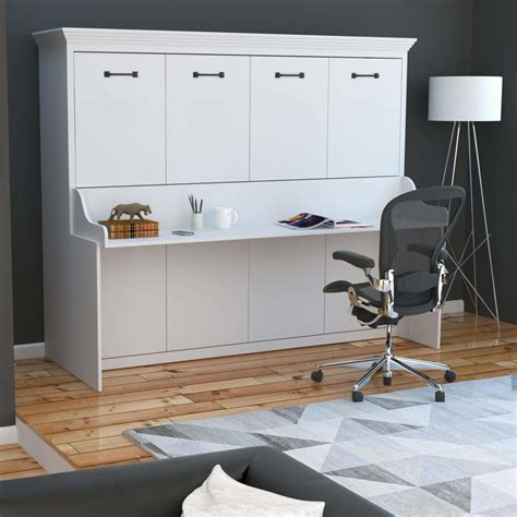 adonis horizontal murphy bed  desk combo white