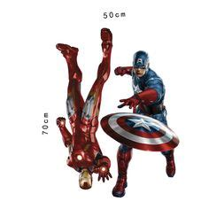 Wall Sticker Avenger 3d Iron Captain America Thor boy bedrooms and on