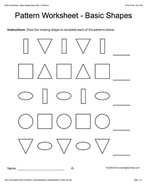 pattern drawing worksheet pattern worksheets for kids black white basic shapes