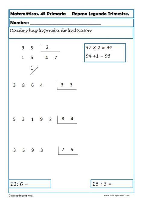 matematicas cuarto de primaria ejercicios ejercicios matem 225 ticas primaria