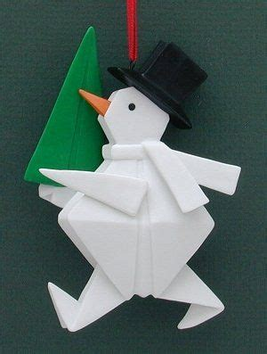 Origami Snowman - trees origami and snowman on