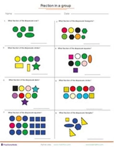 worksheets fractions of groups fraction worksheets for children from kindergarten to 7th grades