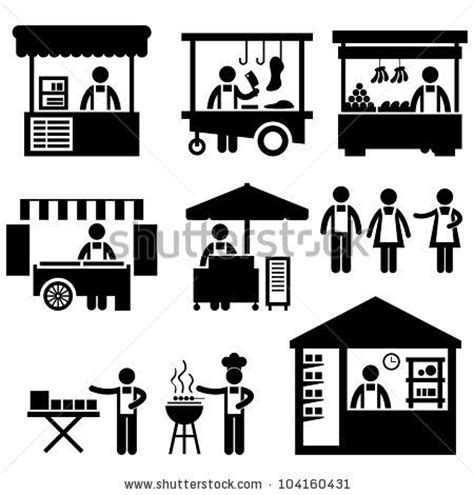 trade symbol stock vector business stall store booth market marketplace