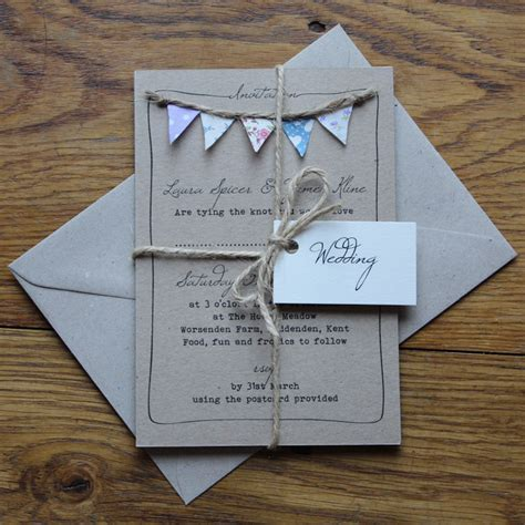 Handmade Invitations Uk - handmade bunting wedding invitations fully personalised