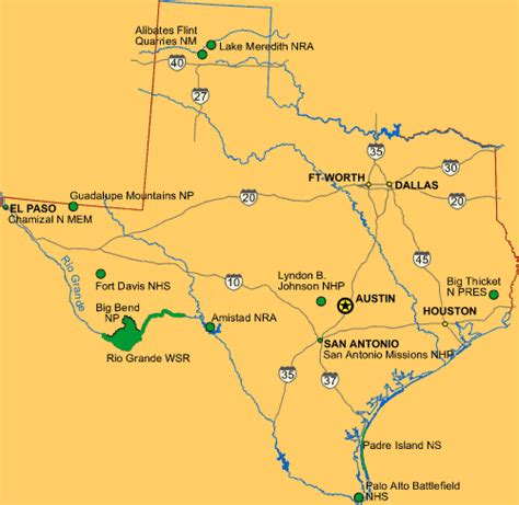 national parks texas map texas national and state parks travel around usa
