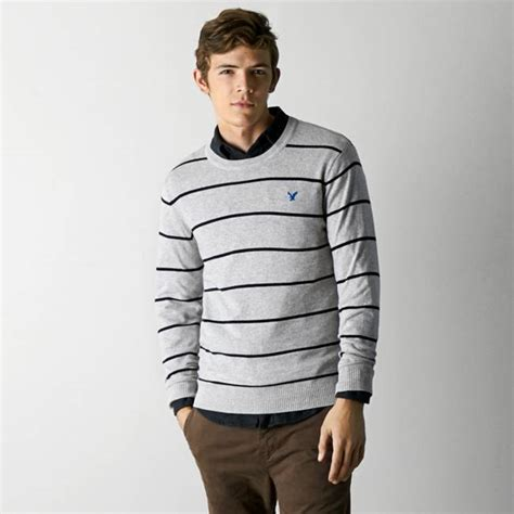 american eagle light grey original american eagle outfitters light grey striped crew