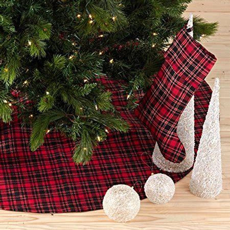 tree skirts walmart highland decor plaid design tree skirt one walmart