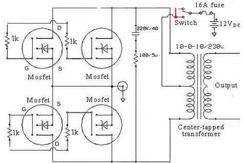 free inverter circuit diagram free dc ac power inverter solar power mfm