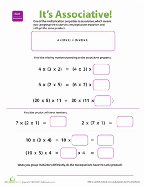 Multiplication Properties Worksheet by Properties Of Multiplication Associative Worksheet
