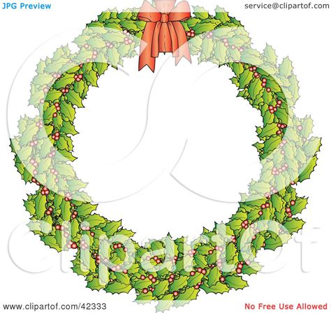 clipart illustration   holly christmas wreath