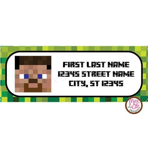printable minecraft label minecraft steve printable address labels by maxandotis on