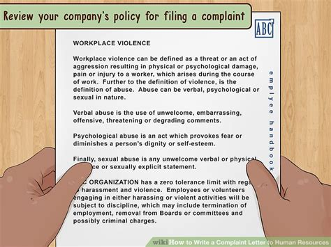 how to write a complaint letter to human resources with pictures