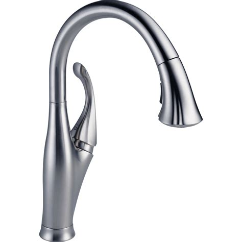 delta faucets for kitchen delta faucet 9192 ar dst addison arctic stainless pullout spray kitchen faucets efaucets com
