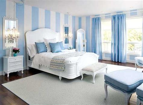 Blue Bedrooms Decorating Ideas white and blue stripes on walls and blue curtains and cushions