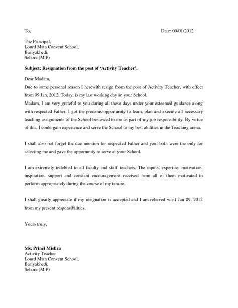 Resignation Letter To School Board Resignation Letter Format Activity Grateful Letter Of Resignation Due To School Service