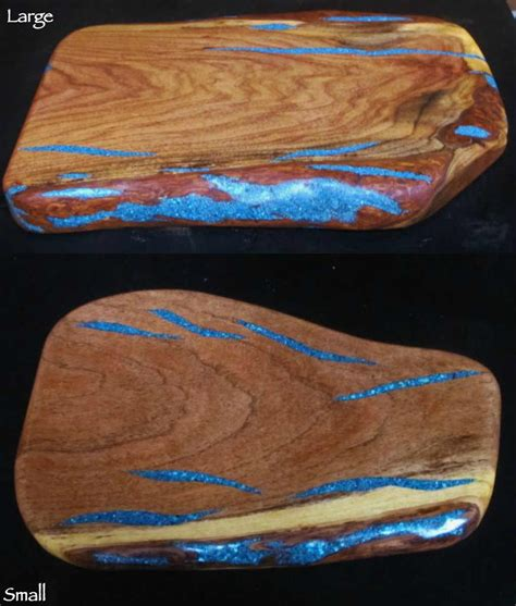Mesquite Wood Cutting Boards with Inlaid Turquoise