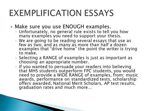 Exemplification Essay Exle by The Exemplification Essay Ppt