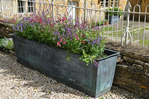 the rectangular copper garden planter large narrow