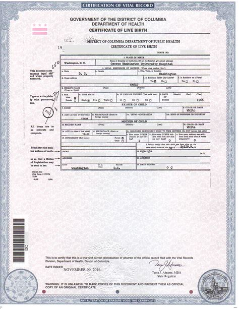 District Of Columbia Birth Records Dc Birth Certificates For Foreign Use