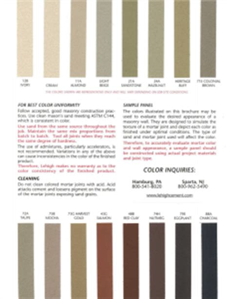 brick mortar color chart cement mortar state material supply
