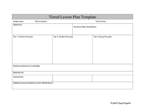 Tiered Lesson Plan Template professional development