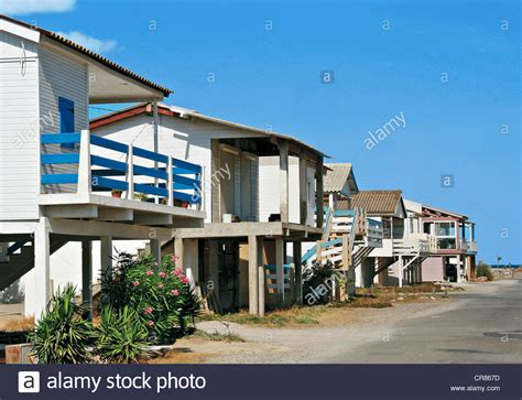 Beach Houses On Stilts france aude gruissan beach houses on stilts stock photo