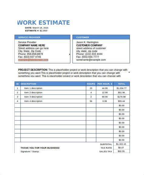 8 Work Estimate Templates Sle Templates Work Estimate Template