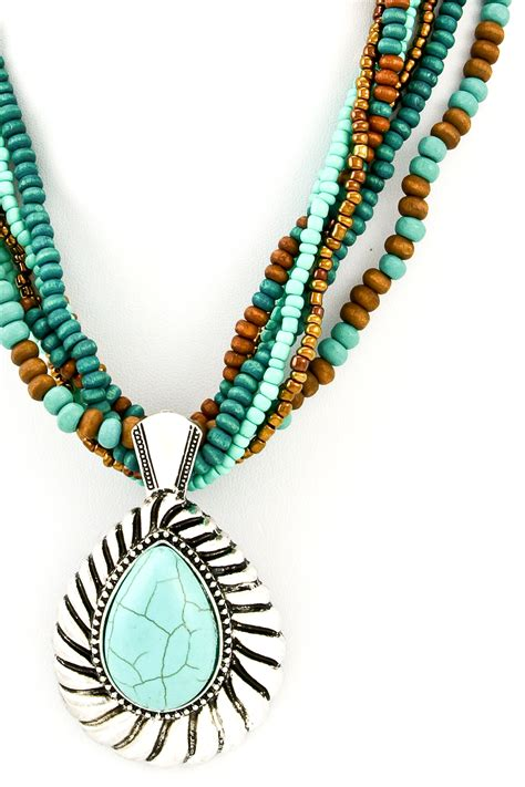 3 strand beaded necklace beaded multi strand pendant necklace set necklaces