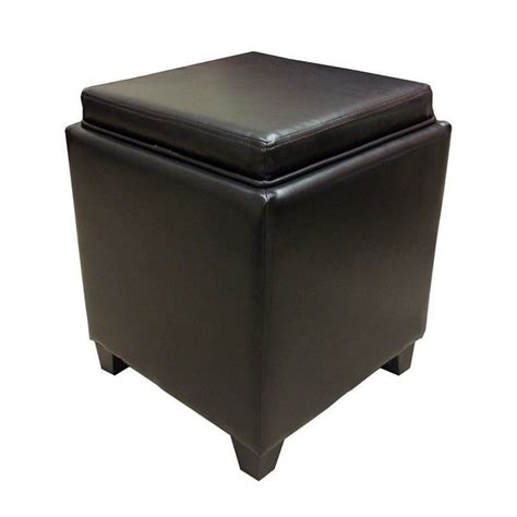 Armen Living Contemporary Storage Ottoman With Tray In Ottomans With Trays And Storage