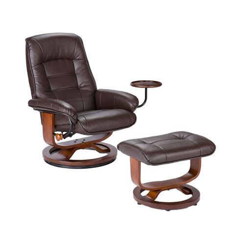leather reclining chair and ottoman set home decorators collection leather recliner and ottoman