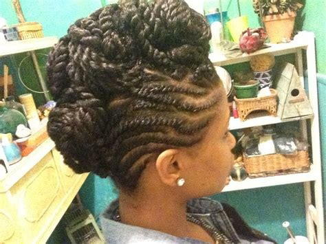 Mowhawks With Two Strand Twists Down The Middle | flat twist mohawk updo with two strand twist in the middle
