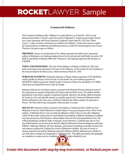 Free Commercial Sublease Agreement Template commercial sublease agreement form template with sle