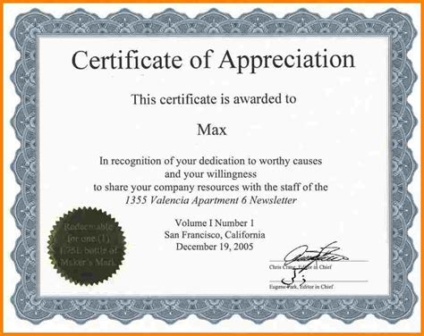 template for appreciation certificate 10 free certificate of appreciation templates for word