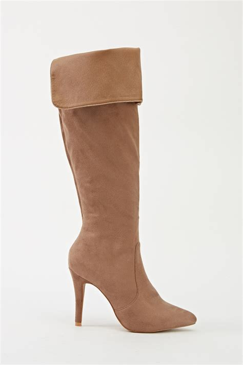 knee high high heeled boots suedette knee high khaki heeled boots just 163 5